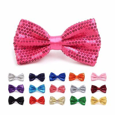 Shiny Sequined Banded Bow Tie (SMQBT) - Sequin Bow Ties