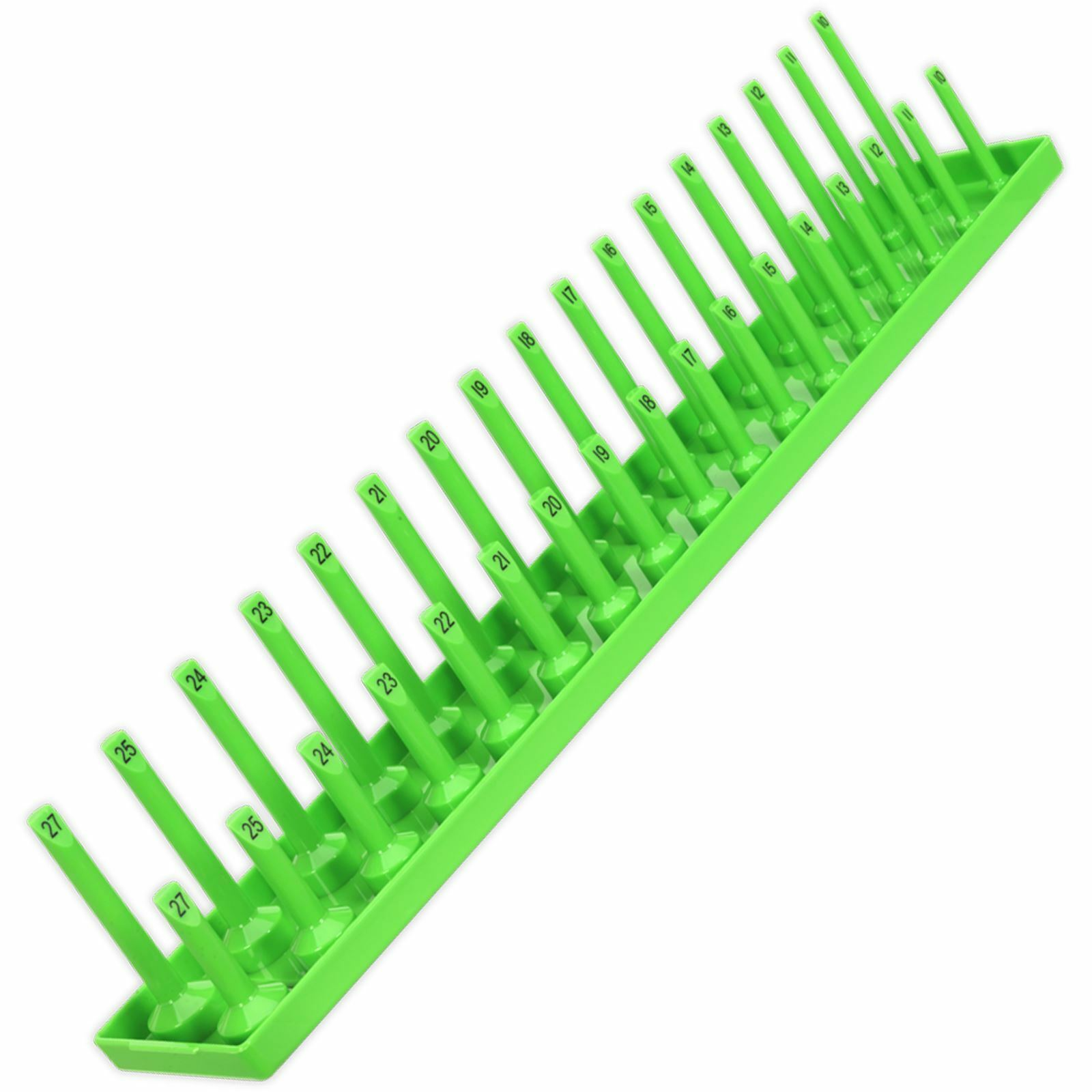 Socket Holder 1//4 Drive 4mm 15mm Hi-Vis Bright Green 230mm Length Holds 28