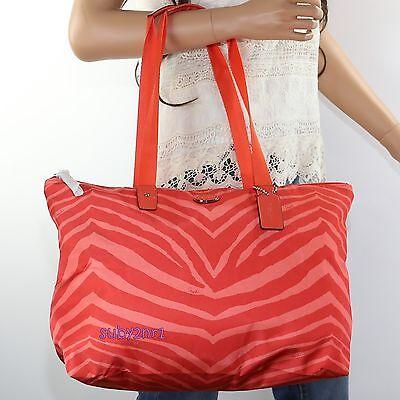 Zebra Animal Print Tote - NWT Coach Zebra Animal Print Packable Weekender Tote Bag F77526 Hot Orange NEW