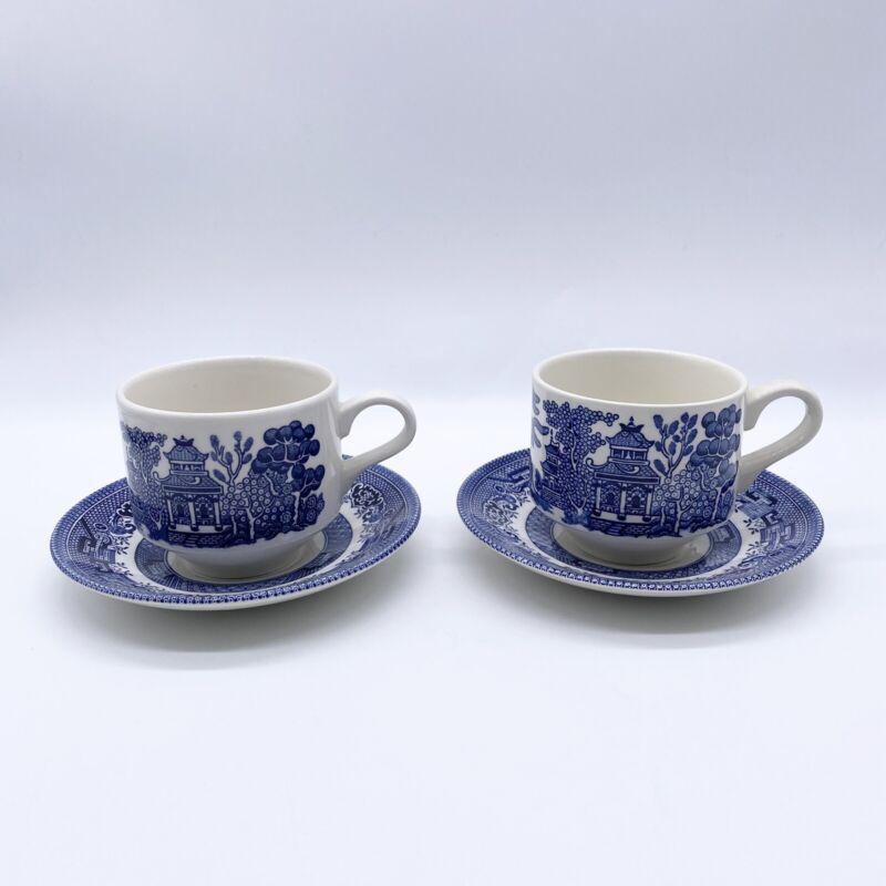 Churchill Blue Willow Set 2 Coffee Tea/Cups Mugs 2 Saucers Made In England