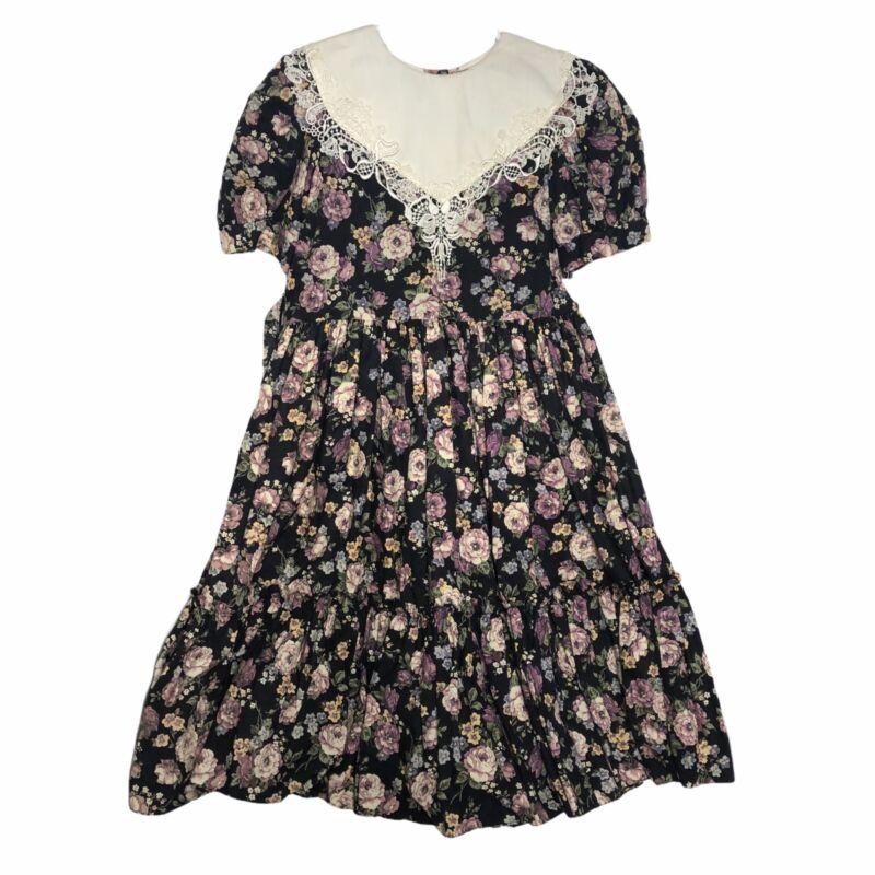Vintage Dolls & Darlings Black Dark Floral Modest Cottage Party Dress Size 10