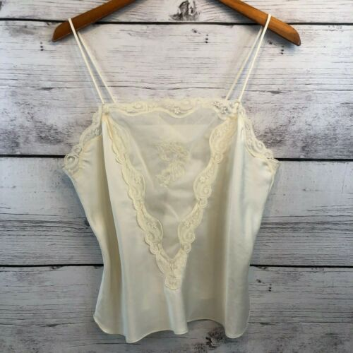 Vintage Womens Camisole Ivory Embroidered Sheer Panel Satin Lace Trim M/L Boho