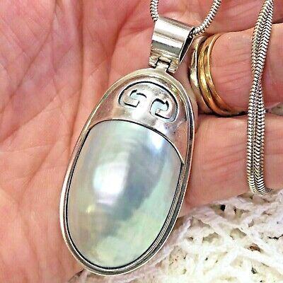 Vintage Sterling Silver Large Blister Pearl Pendant & 20