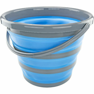 Deluxe Silicone Collapsible 2.65 Gallon Bucket Blue Camp Car Clean Genius Idea