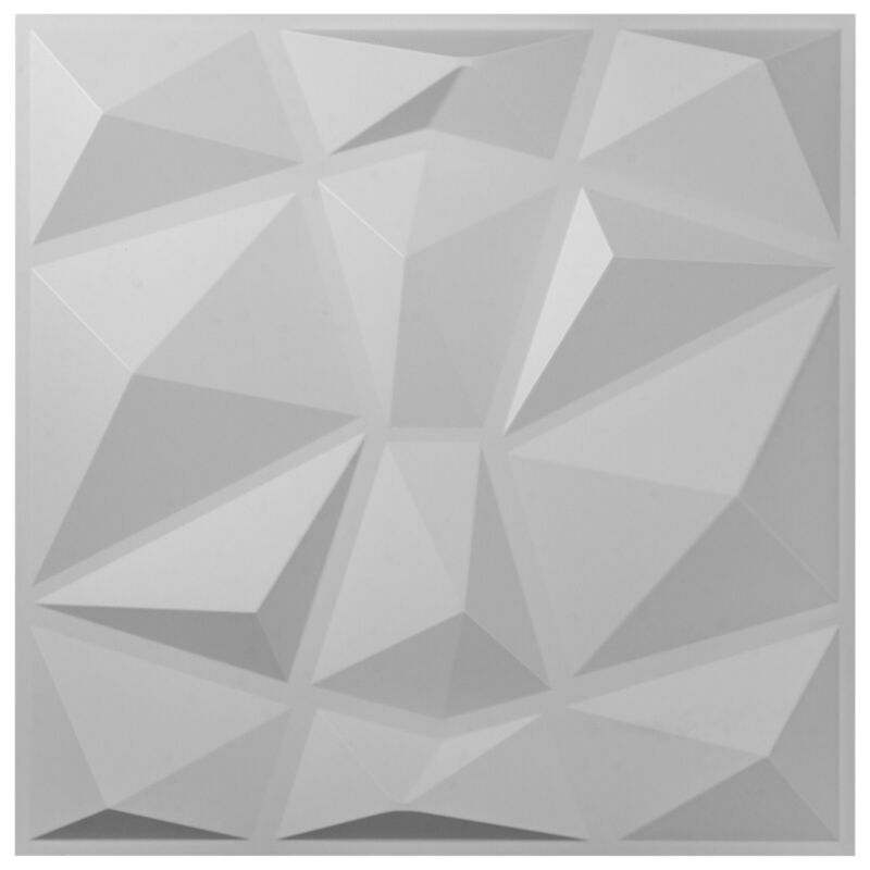 3D PVC Wall Panels Textured Diamond Design 13 Tiles 35 SF Art White WaterProof