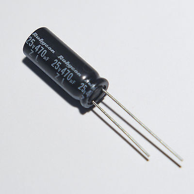 470uf 25v Low-z Radial Rubycon Zl Electrolytic Capacitor 2 Pieces. New. Usa