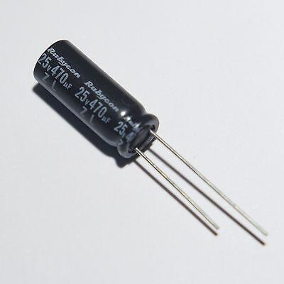 470uF 25V Low-Z Radial Rubycon ZL Electrolytic capacitor, 2 pieces. New. USA 25v Radial Electrolytic Capacitor