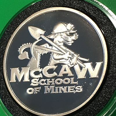 Scarce Mccaw School O Mines Sunshine Proof Coin 1 Troy Oz  999 Fine Silver Round