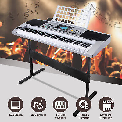 61 Key Music Digital Electronic Keyboard Electric Piano Organ with Stand Silver