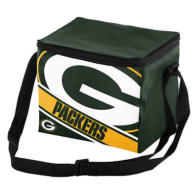 Green Bay Packer Logo (Green Bay Packers NFL Big Logo Striped 6 pack Cooler Lunch Box Bag Insulated)