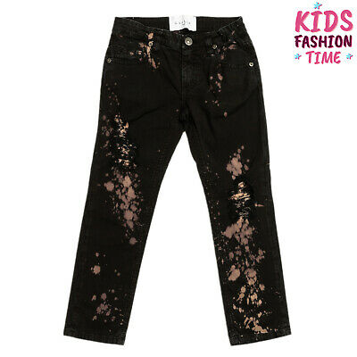 RRP€125 GAELLE PARIS Jeans Size XS 6Y Stretch Ripped Acid Splatter Made in Italy