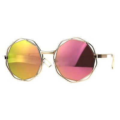 Womens Fashion Sunglasses Angled Round Double Frame Mirror Lens UV 400