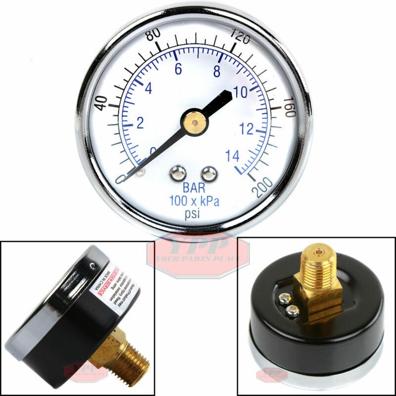 """1/4"""" 200 PSI Compressor Compressed Air Pressure Gauge Back Mount"""