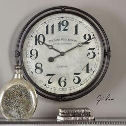 NAKUL XXL 30 INDUSTRIAL VINTAGE IRON LONDON STYLE WALL CLOCK AGED FACE