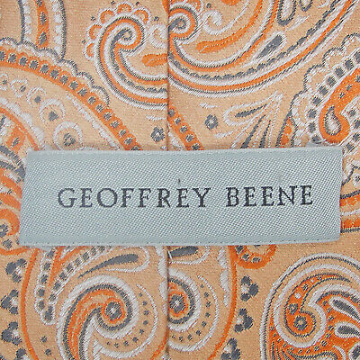 Geoffrey Beene Mens Tie 299 Peach White Gray Paisley - 60 in x 3.50