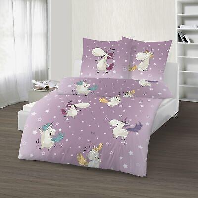 Einhorn Bettwäsche 135x200 cm Unicorn Pferde lila weiß Biber Baumwolle B-Ware