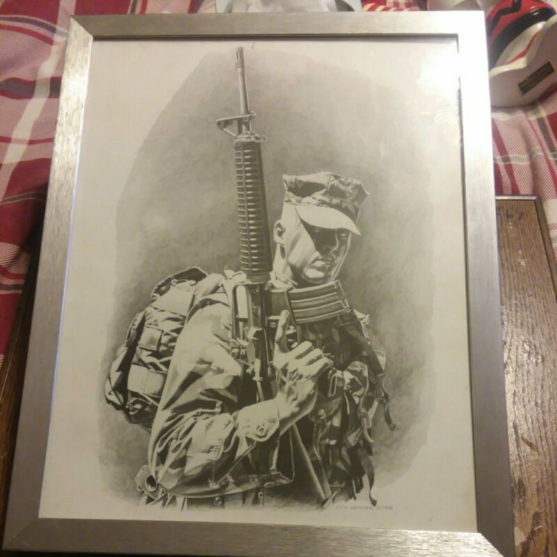 Dick Kramer Print Law Enforcement Military Grunt . In a frame  (14×11) 1996 .
