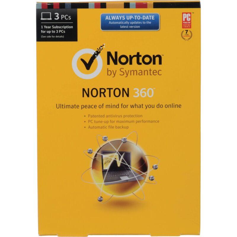 Norton 360 Symantec 3PC 1Year License Code Key win 10 ready