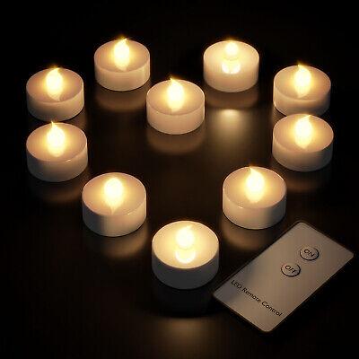 10x LED Teelichter mit Fernbedienung Batterien flackernd Teelicht Kerzen Set
