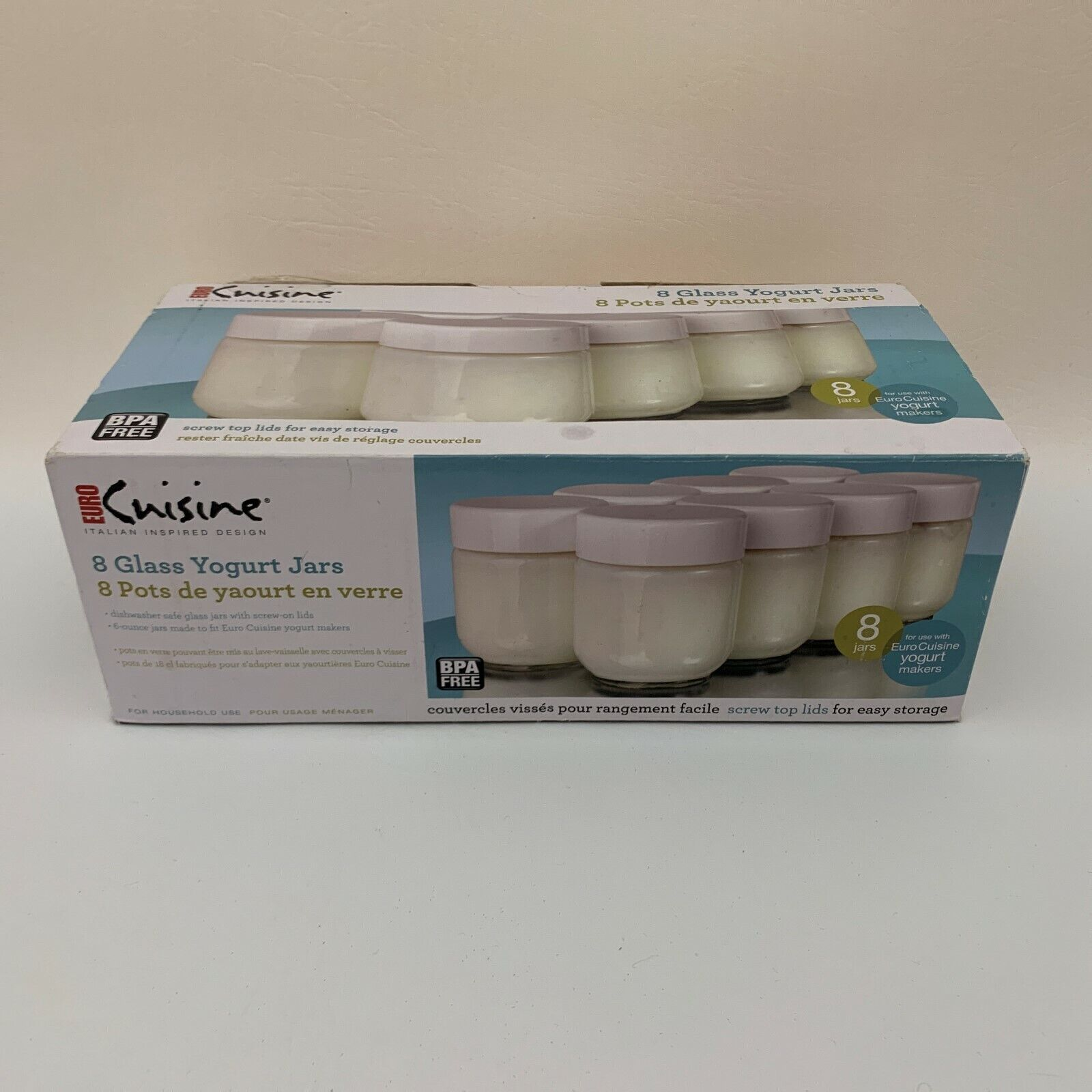8 Euro Cuisine 6 Ounce Glass Yogurt Jars Dishwasher Safe wit