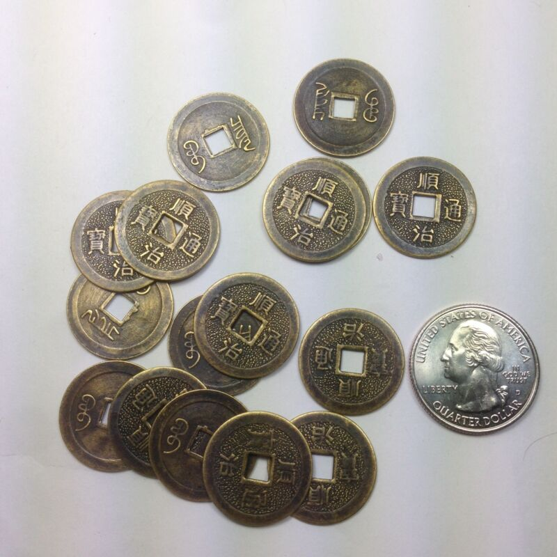 100 Pcs Reproduction Chinese Feng shui Brass Coins,  #0107