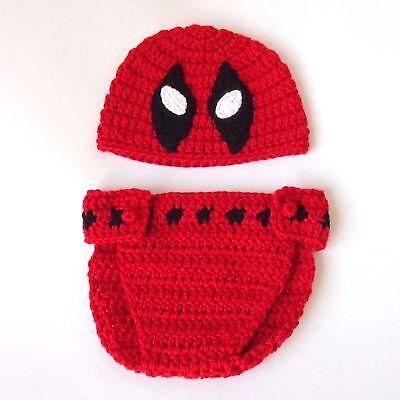Marvel Baby Shower (Marvel Deadpool Hat And Diaper Cover - Superhero Mask Halloween / Baby)