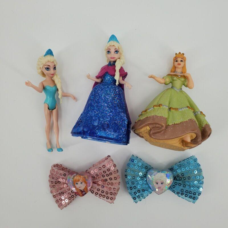 Disney Princess Lot 3 Figurines 2 Hair bows
