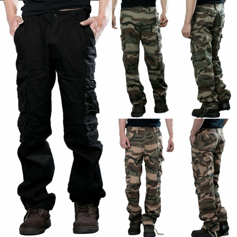 Men Camo Cargo Military Army Combat Trousers Wide Leg Tactic