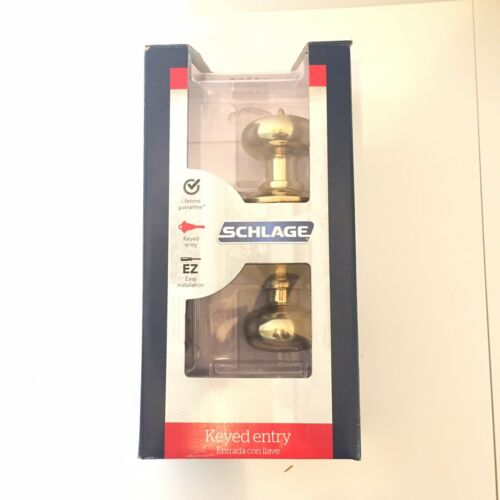 SCHLAGE Keyed Entrance Door Lock Set F51 V PLY 505 605 Brigh