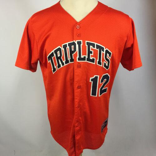 Vintage Rawlings Evansville Triplets Sewn Game Baseball Jersey Button Shirt tee