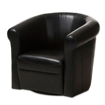 One Black Brown Faux Leather Modern Designer Accent Club Chair 360 Degree Swivel ()