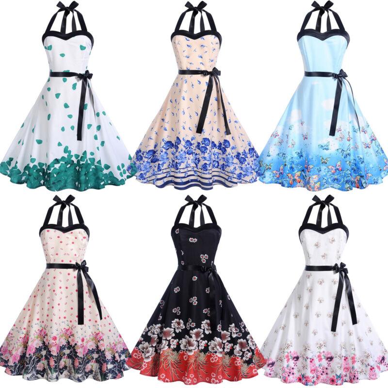 Damen 50er 60er Rockabilly Kleid Neckholder Hepburn Pinup Petticoat Sommerkleid