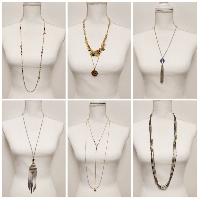 Wholesale lot of 6 Long Necklaces Vintage Style rhinestones beads