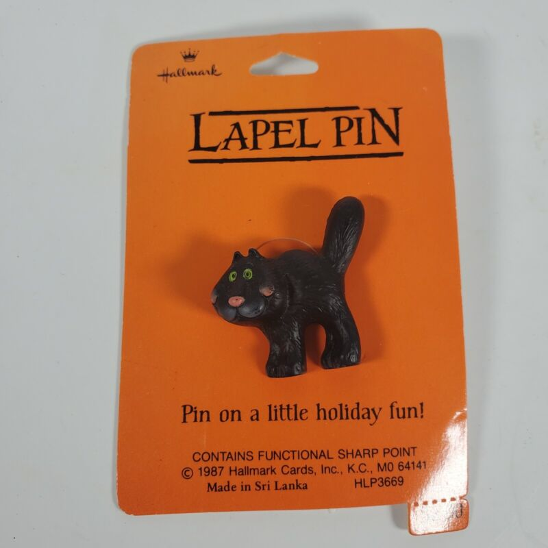 Hallmark PIN Halloween Vintage CAT BLACK Kitty GREEN EYES Tail Up Holiday NEW
