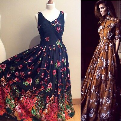 VINTAGE BLACK FLORAL MAXI EVENING DRESS SIZE 10 UK MADE IN BRITAIN PARTY