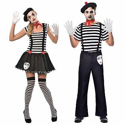 Deluxe French Ladies Mens Mime Artist Fancy Dress Costume Outfit Street Circus - Mime Outfit
