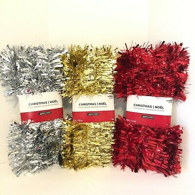 NEW Ashland Tinsel Christmas Decor Garland Long 25 ft/ 7.6m Gold/ Silver/ Red