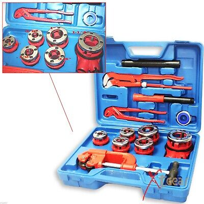 10pc Manual 6 Threading Dies Pipe Cutter Wrenches Kit Ratchet Pipe Threader
