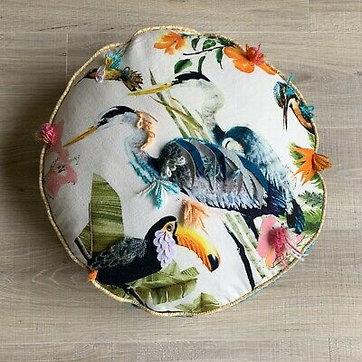 Round Throw Pillow Birds Flowers Decorative Toucan Textured  Vintage Throw Pillows