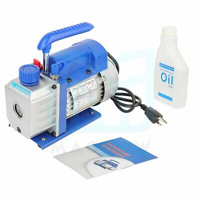 3cfm Rotary Vane 14hp Deep Ac Vacuum Pump Hvac Refrigerant Conditioning Hose