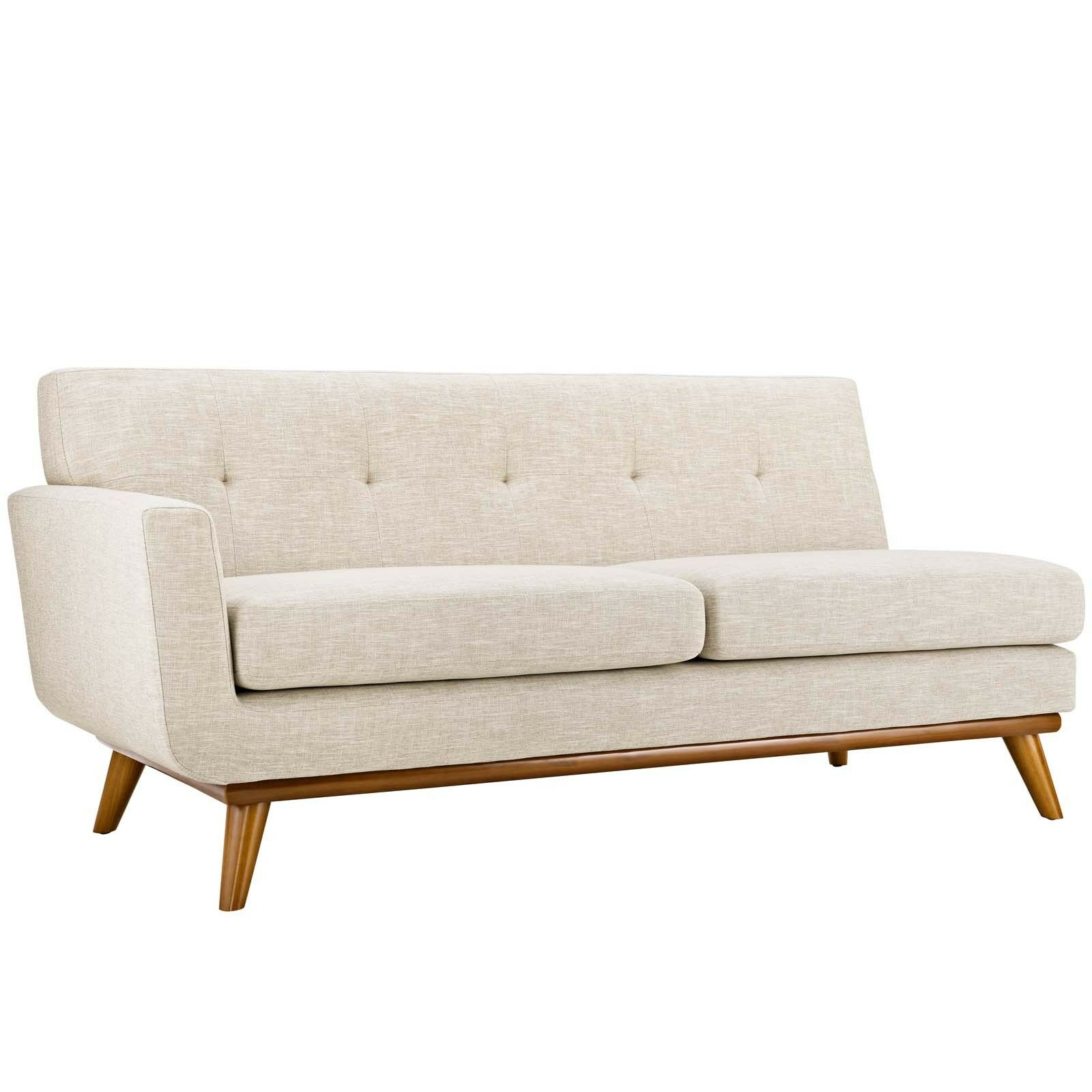 Astonishing Details About Modway Engage Mid Century Modern Upholstered Fabric Right Arm Loveseat In Beige Pabps2019 Chair Design Images Pabps2019Com