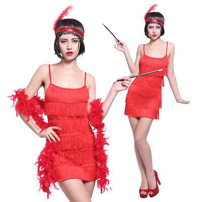 Rot 20er Jahre Flapper Kleid Charleston Kostüm + Feder Haarband Damen Kostüm