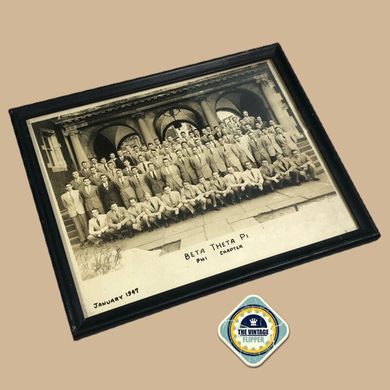 1947 Beta Theta Pi Framed Photo Greek Fraternity VINTAGE Wood Frame with Glass