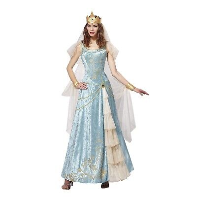 Adult Womens Renaissance Fairy Queen Elf Halloween Blue Dress Costume S M L XL - Blue Fairy Halloween Costume