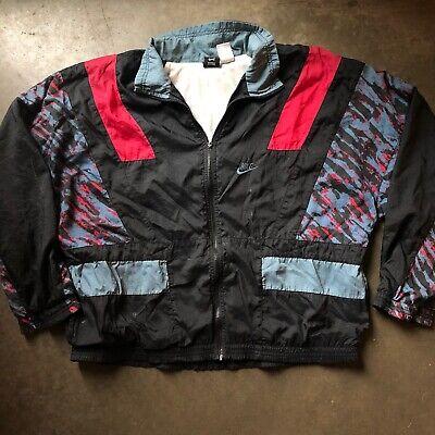 Men's Vintage 90's Nike Gray Black Red Lined Zip Up Windbreaker Jacket Sz L VTG