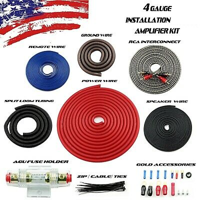 Red 4 AWG Gauge Amplifier Installation Wiring Complete Kit + RCA Interconnect US 4 Awg Power Amplifier