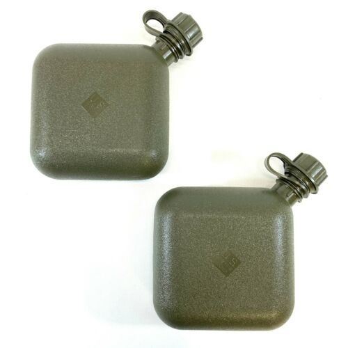 2 Military 2 Quart Canteens, OD Green USGI Collapsible 2 QT Canteen Water Bottle