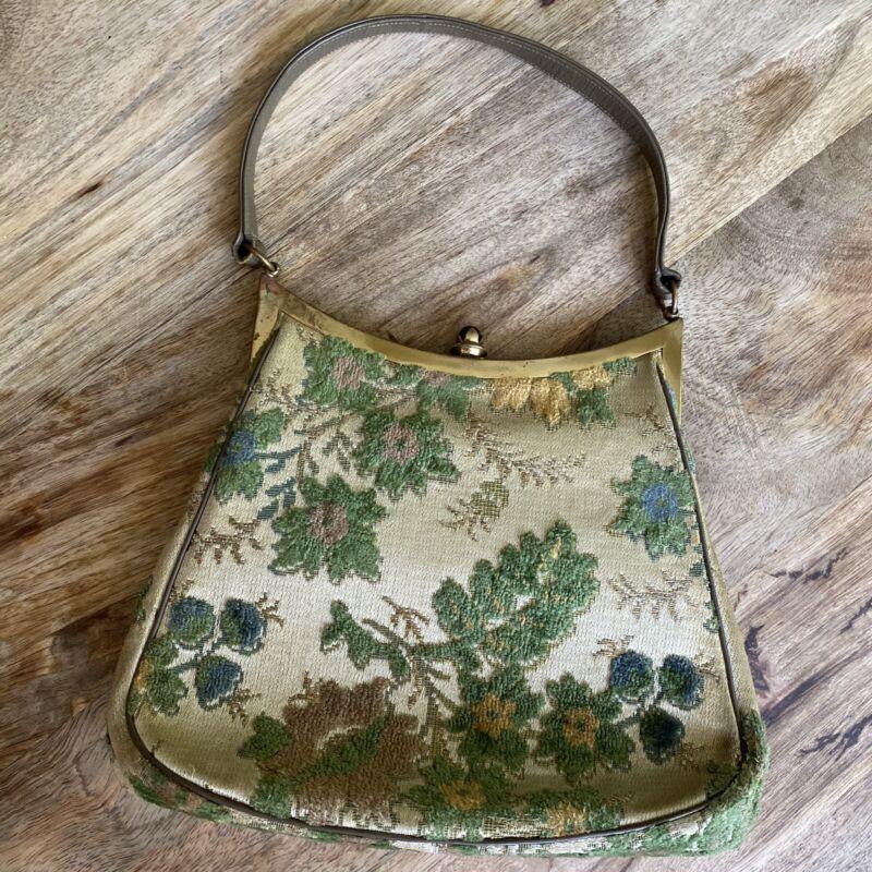 Vintage Purse Handbag BLOCK Chenille cream color