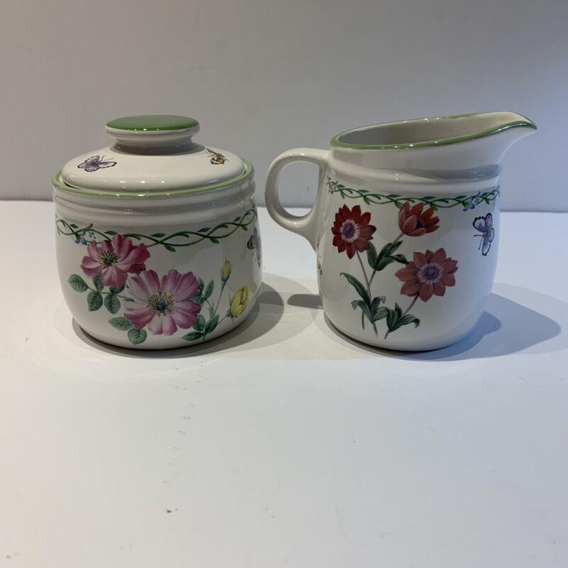 Mikasa Studio Nova Garden Bloom Stoneware Sugar W Lid Creamer Original Box