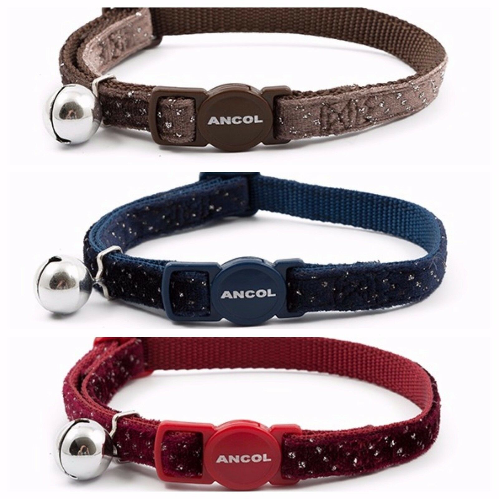 ANCOL 'NEW RANGE' VELVET SPARKLE CAT COLLAR ( With or Without Engraved ID Tag )